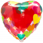 Воздушный шар (18''/46 см) Сердце, Сердце с разноцветными сердечками, Прозрачный, 1 шт.